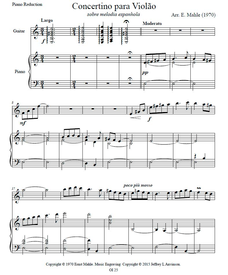 Piano Reduction of Concertino for Guitar on a Spanish Melody (1971) for Guitar and Orchestra, by Ernst Mahle