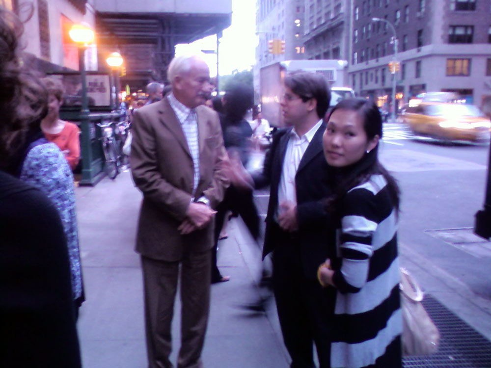 Ernst Mahle, Victor, and Heeyeon on the sidewalk in New York, NY