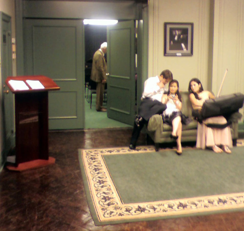 Ernst Mahle in the background, Victor, Heeyeon, and Yeolim in the foreground, Steinway Hall, New York, NY